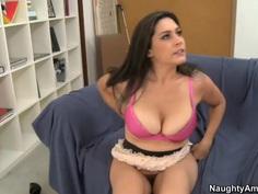 Horny Milf Raylene sucks a huge cock then gets fucked doggy style