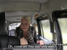 Busty British blonde takes backdoor in fake taxi