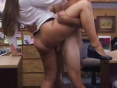 Horny waitress gives handjob and blowjob