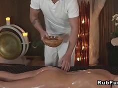 Beautiful babe gets hardcore massage european nuru