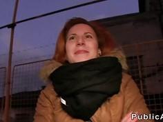 Czech redhead banging in the car in public