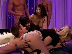 Nasty guests groupsex in Foursome house