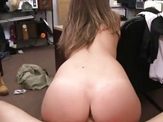 Pawn shop girl sex Card dealer cashes in that pussy!