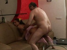 Elderly teacher is enchanting lovely babes pussy
