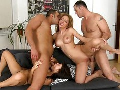 Euro sluts adore analhammering during gang bang