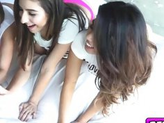 College babes enjoyed in a pillow fight orgy