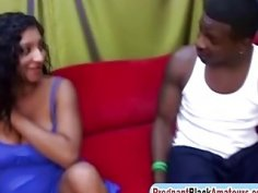 A wonderful pregnant ebony chick Coco gets her pussy fucked hard by black stud