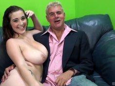 Buxom brunette babe cuckolds her man with hung black stallion