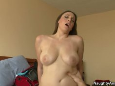 Slim chick Melanie Hicks rides a strong tool in the dorm