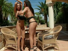 Stunning Sandra Shine and her friend are pleasing each other outdoor