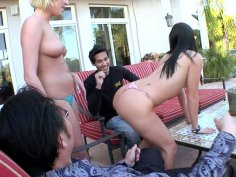 Poolside orgy with Ashli Orion, Victoria White and Jennifer White