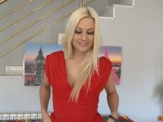 Amazingly beautiful blonde whore Jessie Volt demonstrates her fantastic shape
