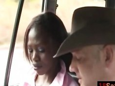 Amateur black bitch sucking white cock in the back of the van