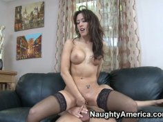 Lustful whore Capri Cavanni riding cock hard and sucking it like a lolly pop