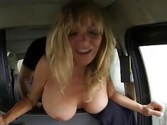 Big boobies babe banged by fraud driver