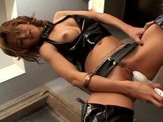 Hot tempered Japanese slut Hotaru Akane drills her ruined pussy with huge dildo