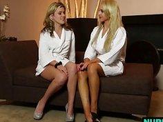 Sasha Heart with Alix Lynx sharing lesbian pussy secrets at Nuru massage room