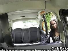 Spanish babe bangs in British fake taxi