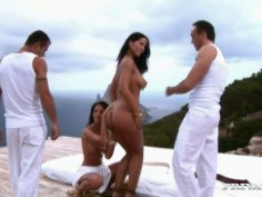 Top notch brunette sexpot Angel Dark is ready for a foursome