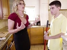 Busty MILF Cory Chase sucks teen cock in the kitchen