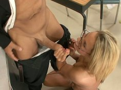 Kiara Diane is giving a blowjob to her teacher at the college and he fingering her sweet virgina