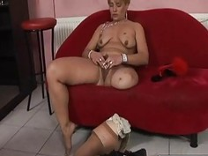 Lesbian sex action with handicap girl without one leg