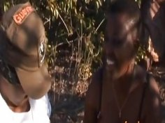 Rough nipple torment and deepthroat with busty African slut