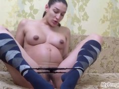 Preggo Janetta Takes Selfies and Fingers Her Pussy