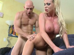 Energetic Nikki Benz rides a hard dick and gets pinned in a missionary position