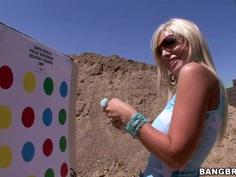 Hot pornstar Angelina Ashe shoots her gun