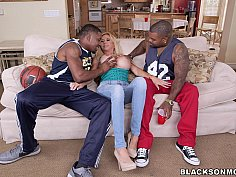 Horny MILF takes on 2 basketball studs