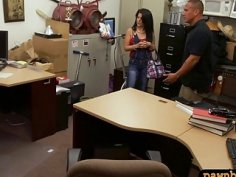 Cuban hottie nailed by nasty pawn keeper in back office