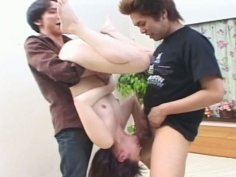 Pale skinned Japanese girl Maria Hidaka practices flying 69 in a hardcore threesome action