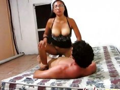 A hot amateur brunette Latina with glasses gets her wet pussy banged hard