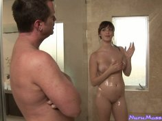 Great titjob and handjob performed by lonely housewife Holly Michaels