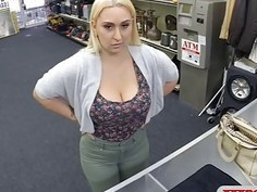 Huge titted blonde babe gets pussy screwed by pawn guy