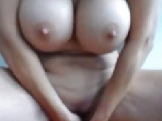 Milf WIth Huge Tits Rides Dildo On Cam