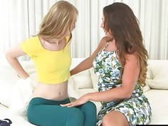 Booby mommy and teen clit to clit fucking on the couch