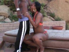 Ebony whore Unique LaSage gives blowjob outdoors