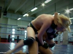 Furious bitch Daikiri fights on a ring with another feisty chick