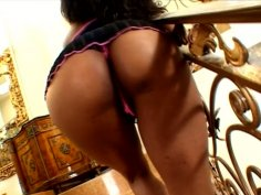 Sexy ebony chick Stacey Cash wags her ass and gives blowjob