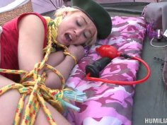 Fluffy blonde teen scout Rebecca Blue gets her tight pussy ruined