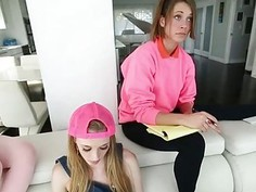 Four babysitters fucked by the master on the couch