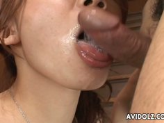 Mikaki Aso sends cock deep in her mouth hole