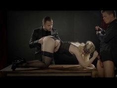 Euro babe in lingerie fucks with two hardcore dominant guys