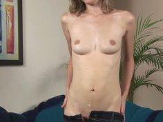 Skinny Russian whore Dasha with small boobs masturbates and sucks cock