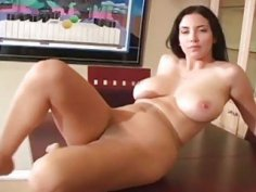 Chick in pants jerks her feet and spreads hips