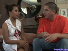 Seductive asian babe Lana Violet takes care of a horny stud