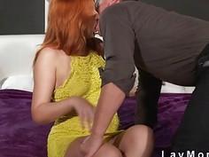 Fire redhead mom bangs in bedroom