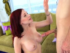 Pale skinned and gorgeous Neesa fucks doggy on the couch